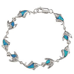 La Preciosa Sterling Silver Created Blue Opal and CZ Fish Link Bracelet