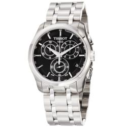 Tissot Men's 'Couturier' Black Chronograph Dial Stainless Steel Watch