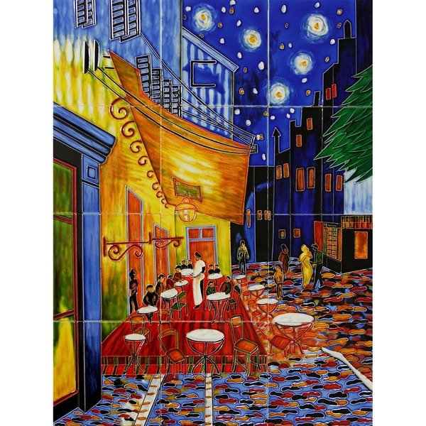 Van Gogh 'Cafe Terrace at Night' Mural Wall Tiles