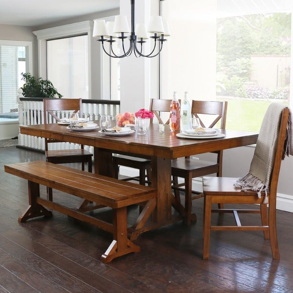 Countryside Chic 6-piece Antique Brown Wood Dining Set with Dining Bench