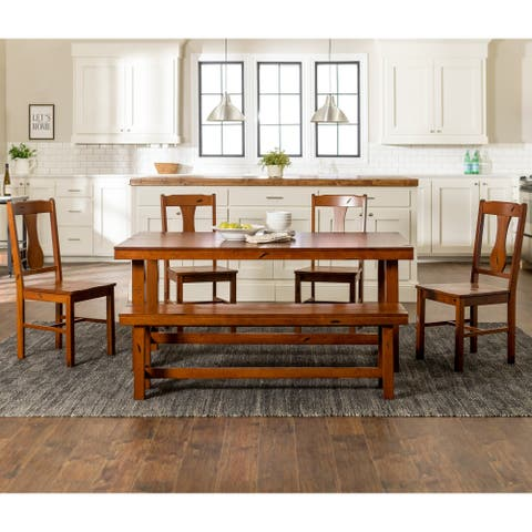 Distressed Dark Oak 6-piece Wood Dining Set with Bench