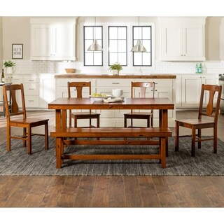 Superb Rustic Dark Oak 6 Piece Wood Dining Set With Dining Bench