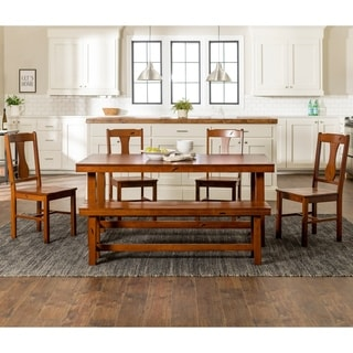 Rustic Dark Oak 6 Piece Wood Dining Set With Dining Bench