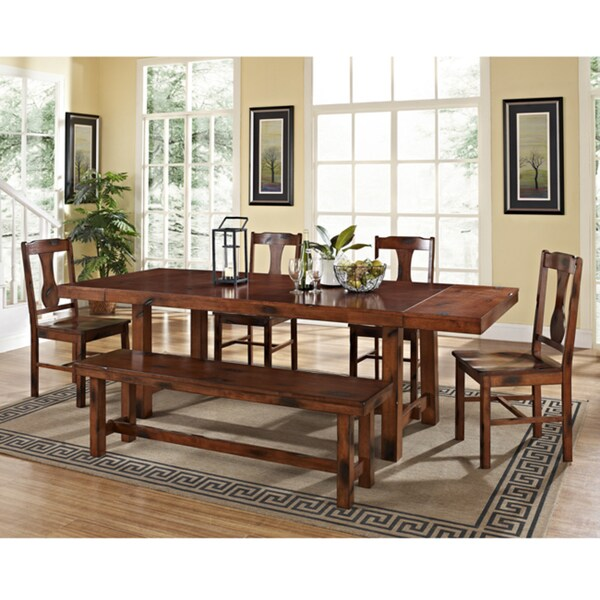 Superior Rustic Dark Oak 6 Piece Wood Dining Set With Dining Bench