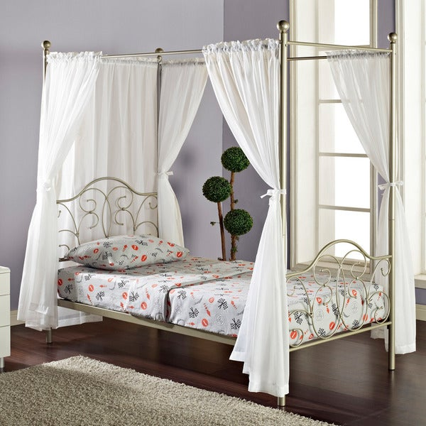 Pewter Metal Twin-size Canopy Bed with Curtains
