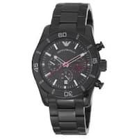 Emporio Armani Men's  'Sport' Black Dial Black Stainless Steel Watch