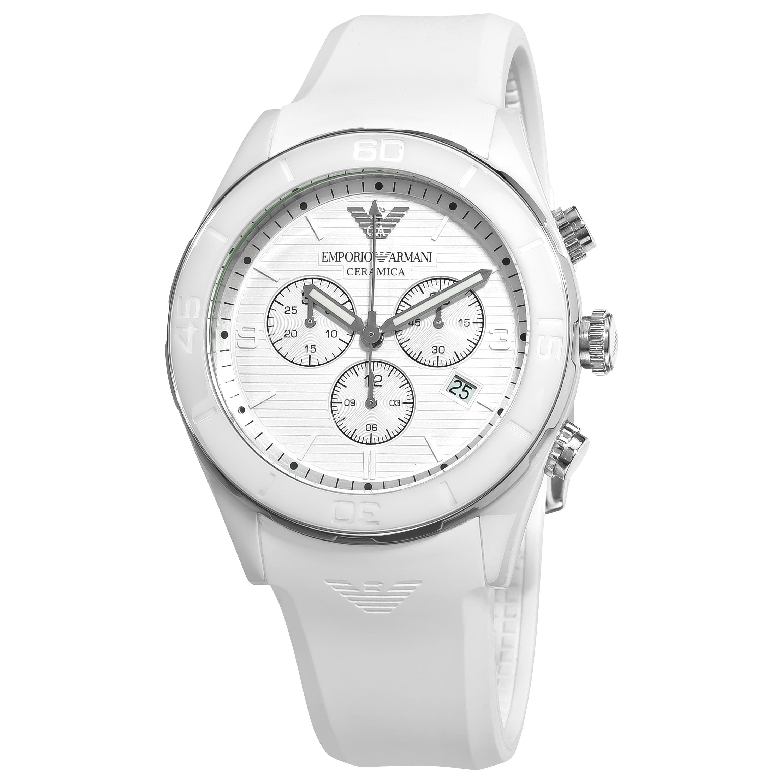 e285c29f3 Shop Emporio Armani Men's 'Ceramic' White Silicone Strap Chronograph Watch  - Free Shipping Today - Overstock - 6511506