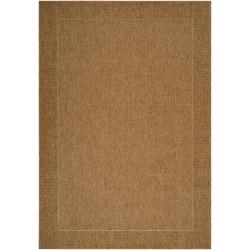 Woven Tan Akola Indoor/Outdoor Border Rug (5'3 x 7'6)