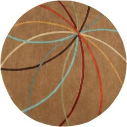 Hand-tufted Brown Contemporary Chamba Wool Abstract Rug (9'9 Round)