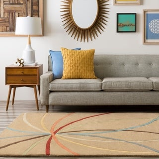 "Hand-tufted Brown Contemporary Chamba Wool Abstract Area Rug - 9'9"" Round"