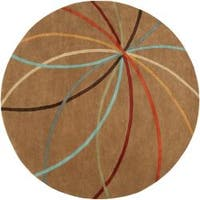 Hand-tufted Tan Contemporary Chamba Wool Abstract Area Rug (8' Round) - 8' x 8'