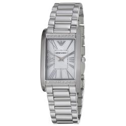 Emporio Armani Women's AR3169 'Slim' Mother-of-Pearl Dial Stainless-Steel Bezel Quartz Watch