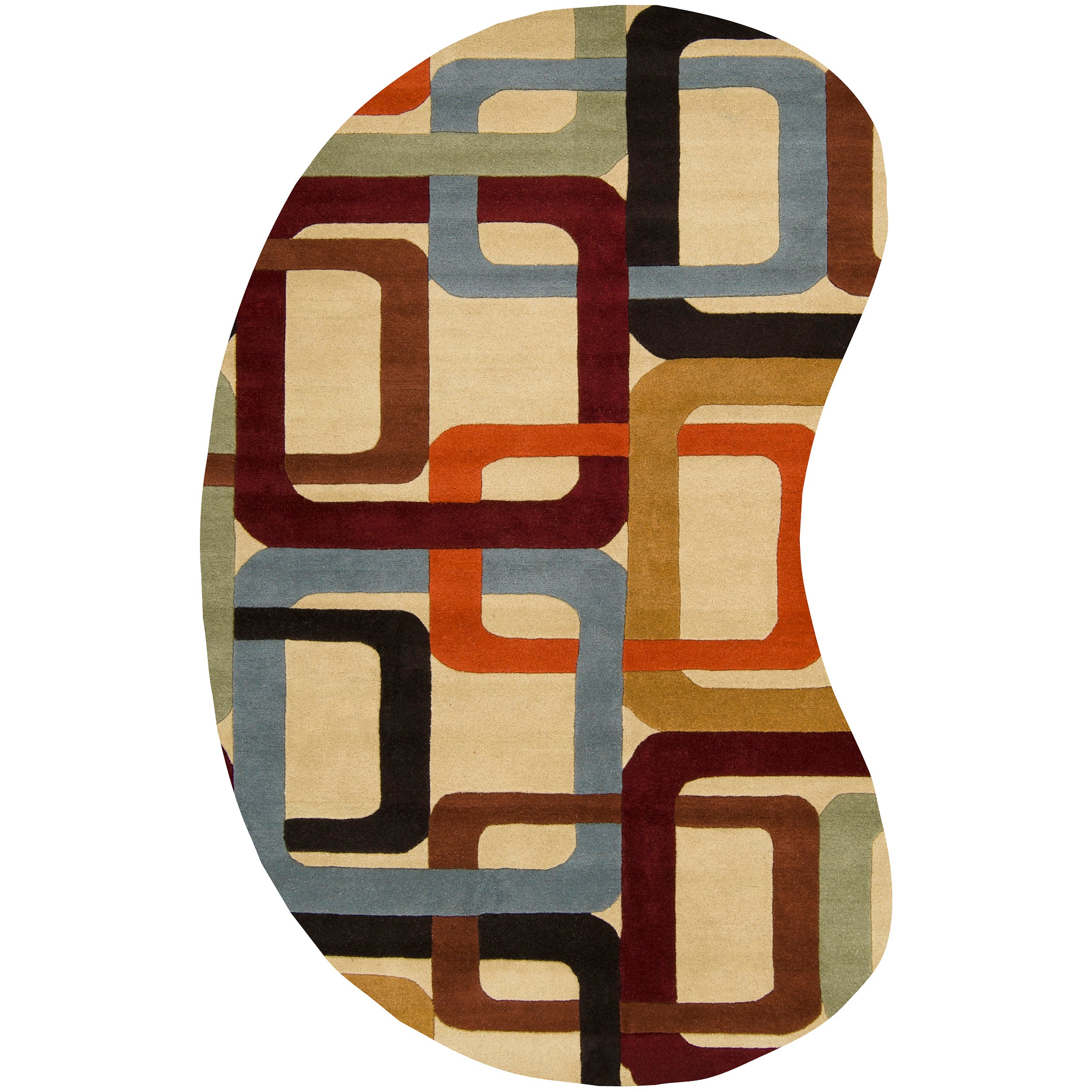 Hand-tufted Contemporary Multi Colored Square Chandil Wool Geometric Rug (6' x 9' Kidney)
