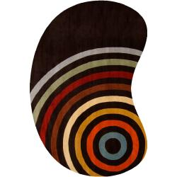 Hand-tufted Black Contemporary Multi Colored Circles Calcutta Wool Geometric Rug (6' x 9' Kidney)