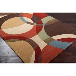 Hand-tufted Contemporary Multi Colored Circles Buxar Wool Geometric Rug (9' x 12') - Thumbnail 1