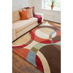 Hand-tufted Contemporary Multi Colored Circles Buxar Wool Geometric Rug (9' x 12') - Thumbnail 2