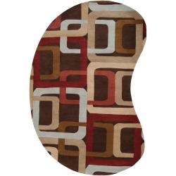 Hand-tufted Brown Contemporary Multi Colored Square Burla Wool Geometric Rug (8' x 10' Kidney)