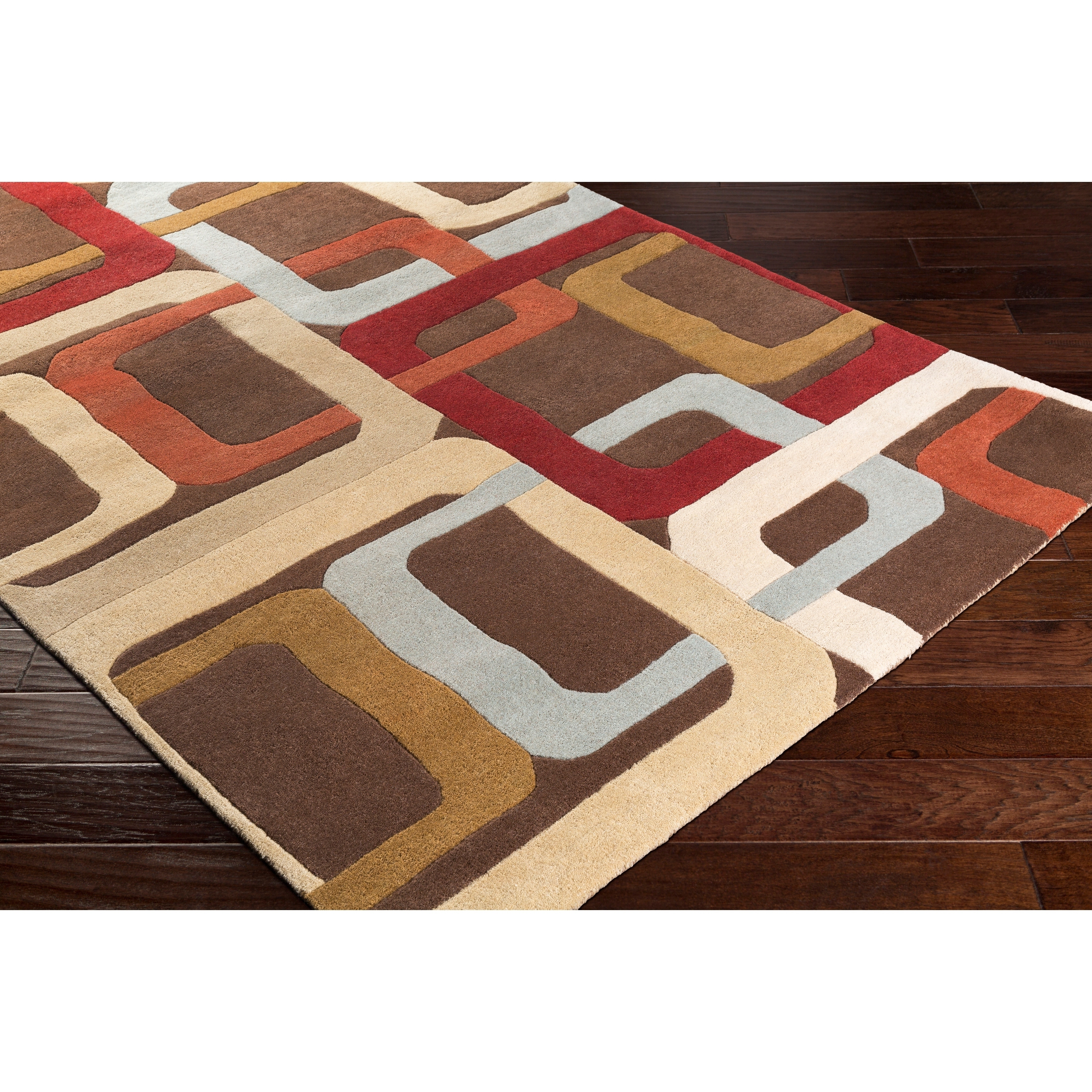 Hand Tufted Brown Contemporary Multi Colored Square Burla Wool Geometric Area Rug 8 X 10 Kidney Overstock 6511546