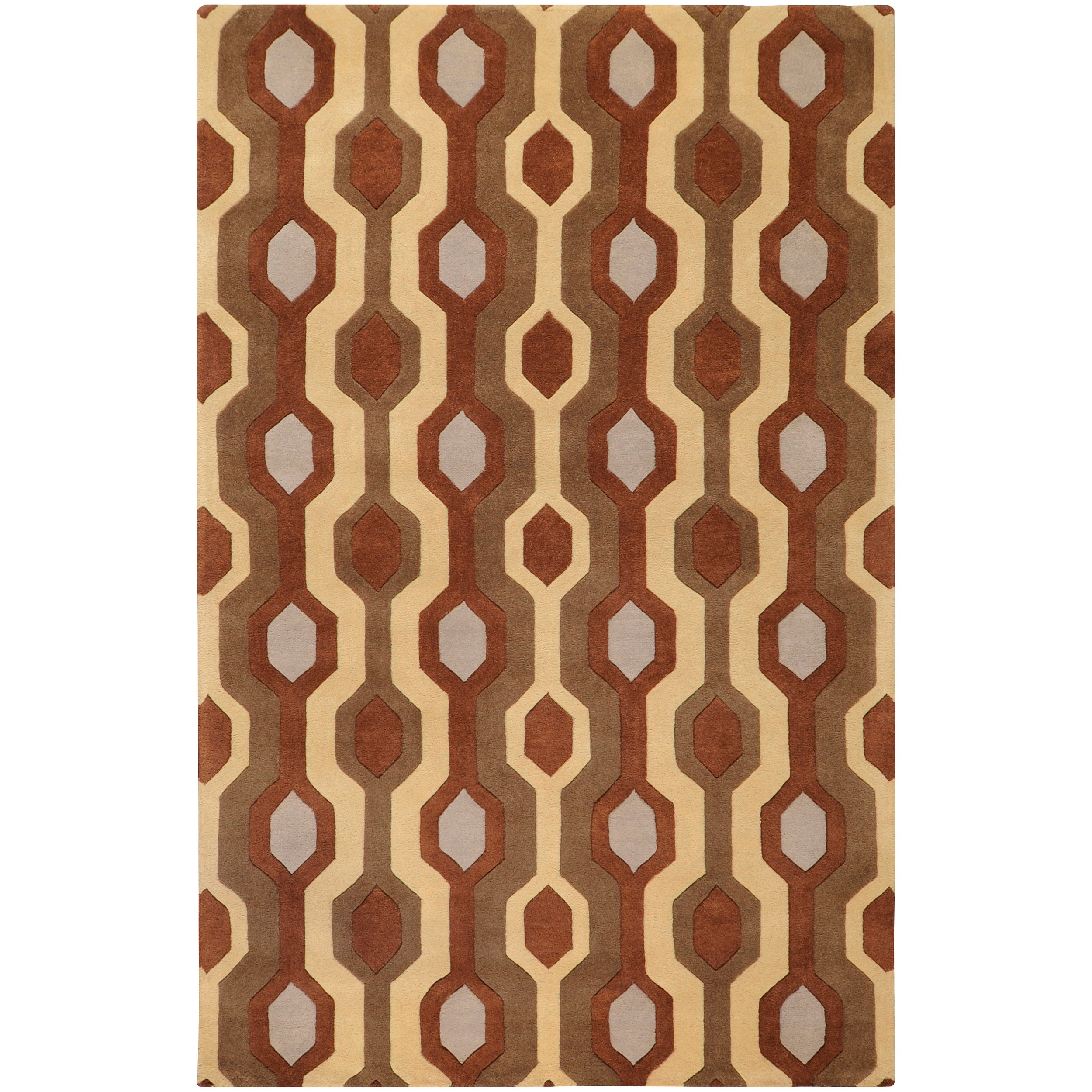 Hand-tufted Brown Contemporary Bamra Wool Geometric Rug (10' x 14')