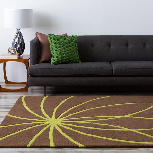 Hand-tufted Contemporary Brown/Green Ausa Wool Abstract Area Rug - 6' x 9'
