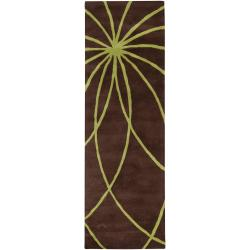 Hand-tufted Contemporary Brown/Green Ausa Wool Abstract Rug (2'6 x 8')