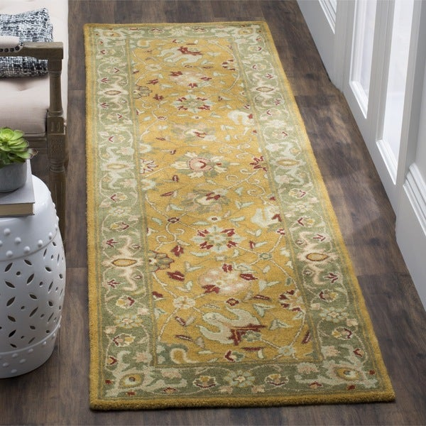 Safavieh Handmade Traditions Gold/ Sage Wool Rug (2'3 x 10')