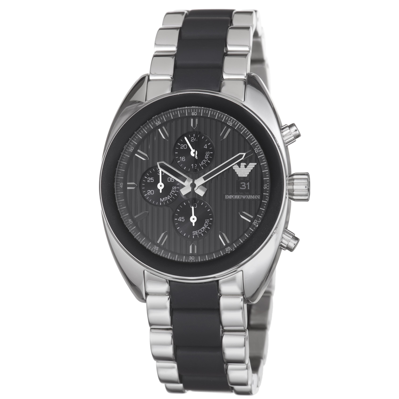 Emporio Armani Men's AR5952 'Sport' Stainless Steel Black Silicone Watch