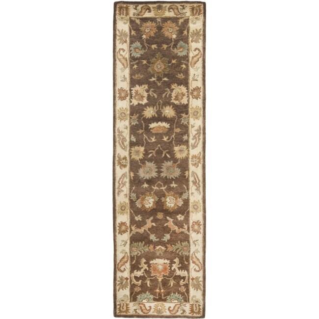 Safavieh Handmade Zeigler Brown/ Ivory Hand-spun Wool Rug (2'3 x 12')