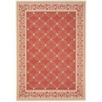 Safavieh Bay Red/ Natural Indoor/ Outdoor Rug - 4' x 5'7