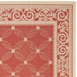Safavieh Bay Red/ Natural Indoor/ Outdoor Rug (9' x 12') - Thumbnail 1