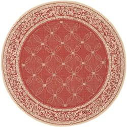 Safavieh Geometric-pattern Red/ Natural Indoor/ Outdoor Rug (5'3 Round)