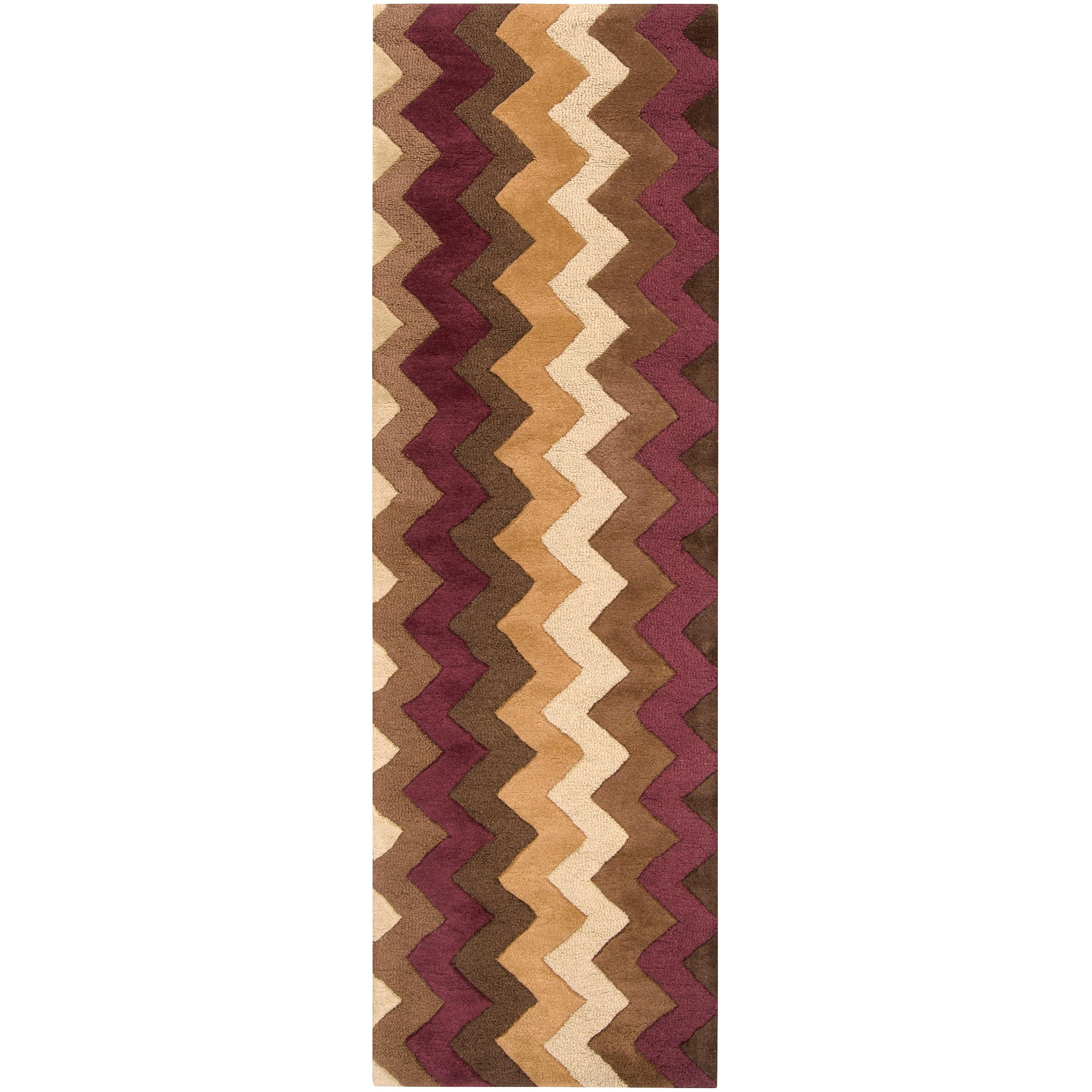Hand-tufted Brown Krugman New Zealand Wool Rug (2'6 x 8')