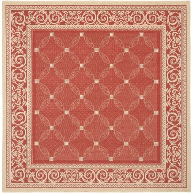 Safavieh Bay Red Natural Indoor Outdoor Rug 6 7 Square