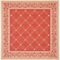 "Safavieh Bay Rust/ Natural Indoor/ Outdoor Rug - 6'-7"" x 6'-7"" square"