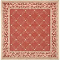 Safavieh Bay Red/ Natural Indoor/ Outdoor Rug (7'10 Square) - 7'10 x 7'10