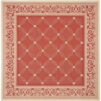 """Safavieh Bay Red/ Natural Indoor/ Outdoor Rug - 7'10"""" x 7'10"""" square"""