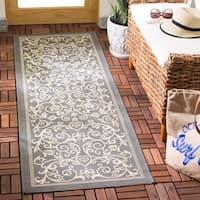 """Safavieh Resorts Scrollwork Grey/ Natural Indoor/ Outdoor Rug - 2'3"""" x 6'7"""""""