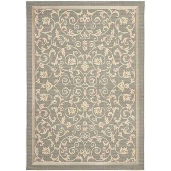 Safavieh Resorts Scrollwork Grey/ Natural Indoor/ Outdoor Rug (5'3 x 7'7)