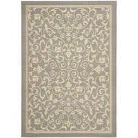 Safavieh Resorts Scrollwork Grey/ Natural Indoor/ Outdoor Rug - 6'7 x 9'6