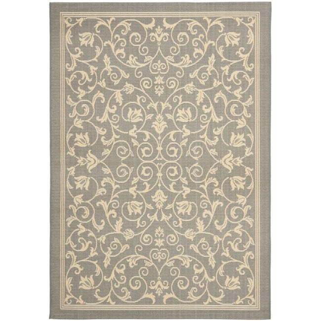 Safavieh Resorts Scrollwork Grey/ Natural Indoor/ Outdoor Rug (8' 11 x 12' )