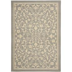 Safavieh Grey/ Natural Indoor Outdoor Rug (8' 11 x 12' RECTANGLE)