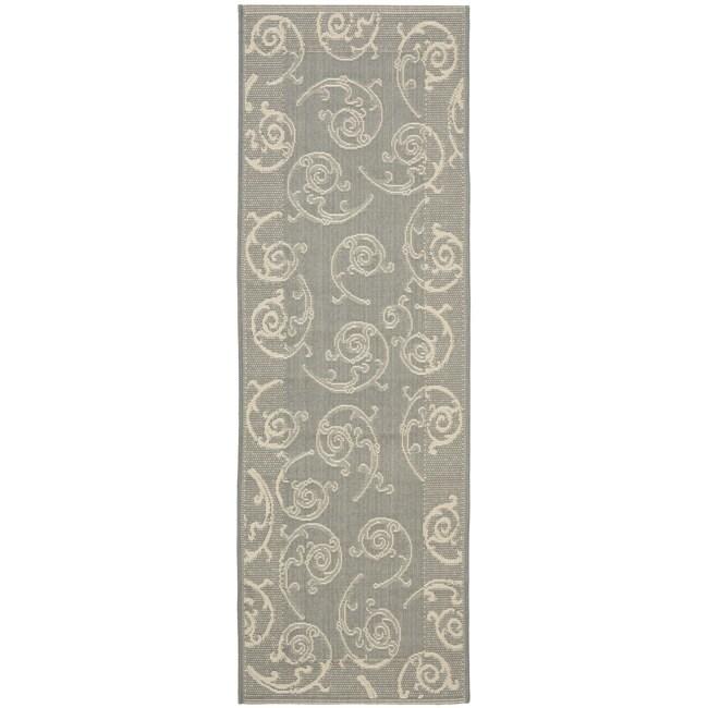 Safavieh Oasis Scrollwork Grey/ Natural Indoor/ Outdoor Rug (2'4 x 9'11)