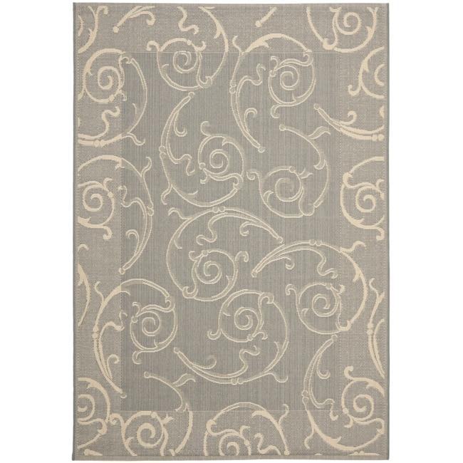 Safavieh Oasis Scrollwork Grey/ Natural Indoor/ Outdoor Rug (2'7 x 5')