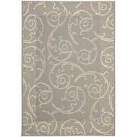Safavieh Oasis Scrollwork Grey/ Natural Indoor/ Outdoor Rug - 2'7 x 5'