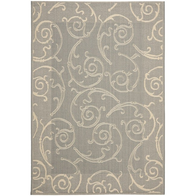 Safavieh Oasis Scrollwork Grey/ Natural Indoor/ Outdoor Rug (6'7 x 9'6)