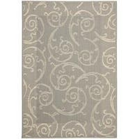 Safavieh Oasis Scrollwork Grey/ Natural Indoor/ Outdoor Rug - 6'7 x 9'6