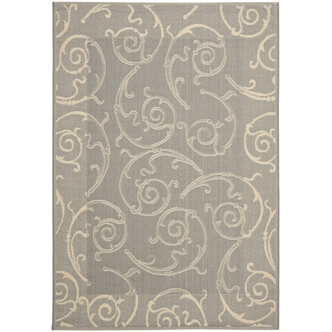 Safavieh Oasis Scrollwork Grey/ Natural Indoor/ Outdoor Rug - 9' x 12'