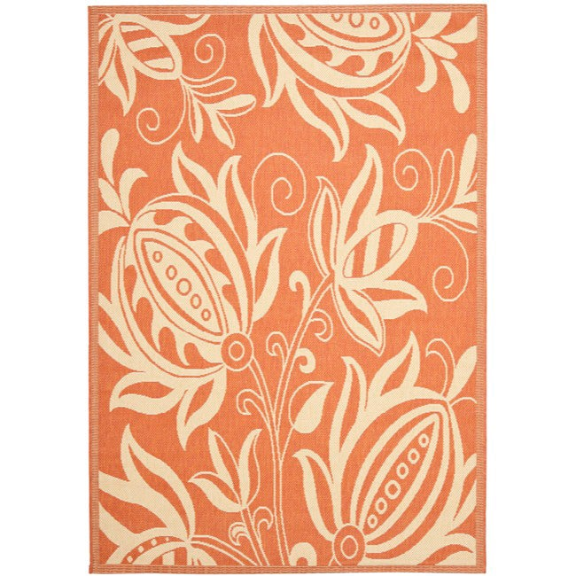 Safavieh Andros Terracotta/ Natural Indoor/ Outdoor Rug (6'7 x 9'6)
