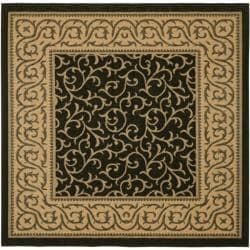 Safavieh Black/ Natural Indoor Outdoor Rug (6'7 Square)
