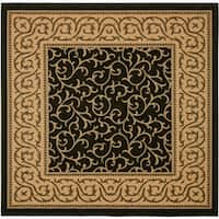 """Safavieh Courtyard Scrollwork Black/ Natural Indoor/ Outdoor Rug - 6'7"""" x 6'7"""" square"""
